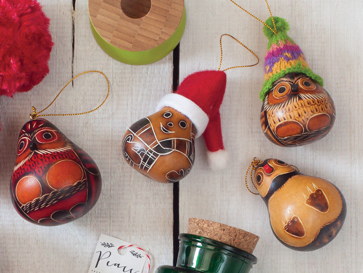 Handmade holiday ornaments and other host and hostess gifts