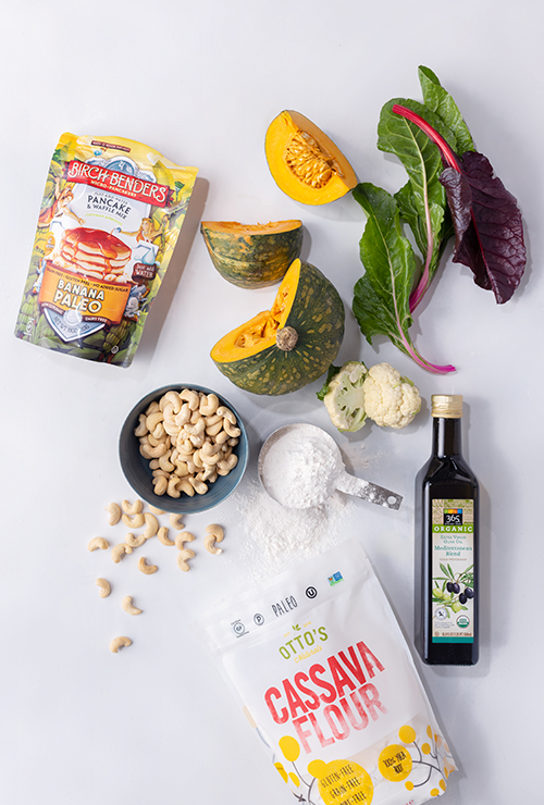 Paleo haul, squash, olive oil, cassava flour, cashews, cauliflower