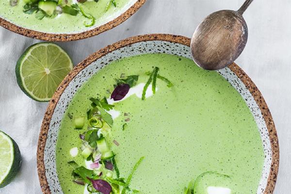 Cucumber Gazpacho with Yogurt, Cilantro and Coriander