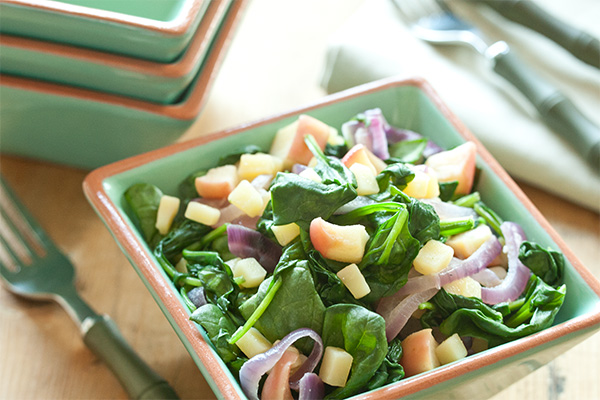 Warm Spinach Salad with Apple and Robusto Cheese