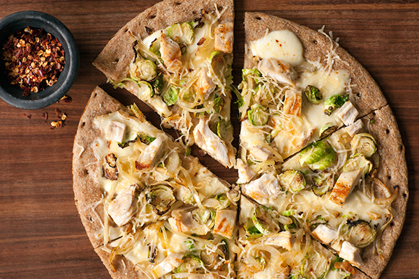 White Pizza with Brussels Sprouts and Chicken