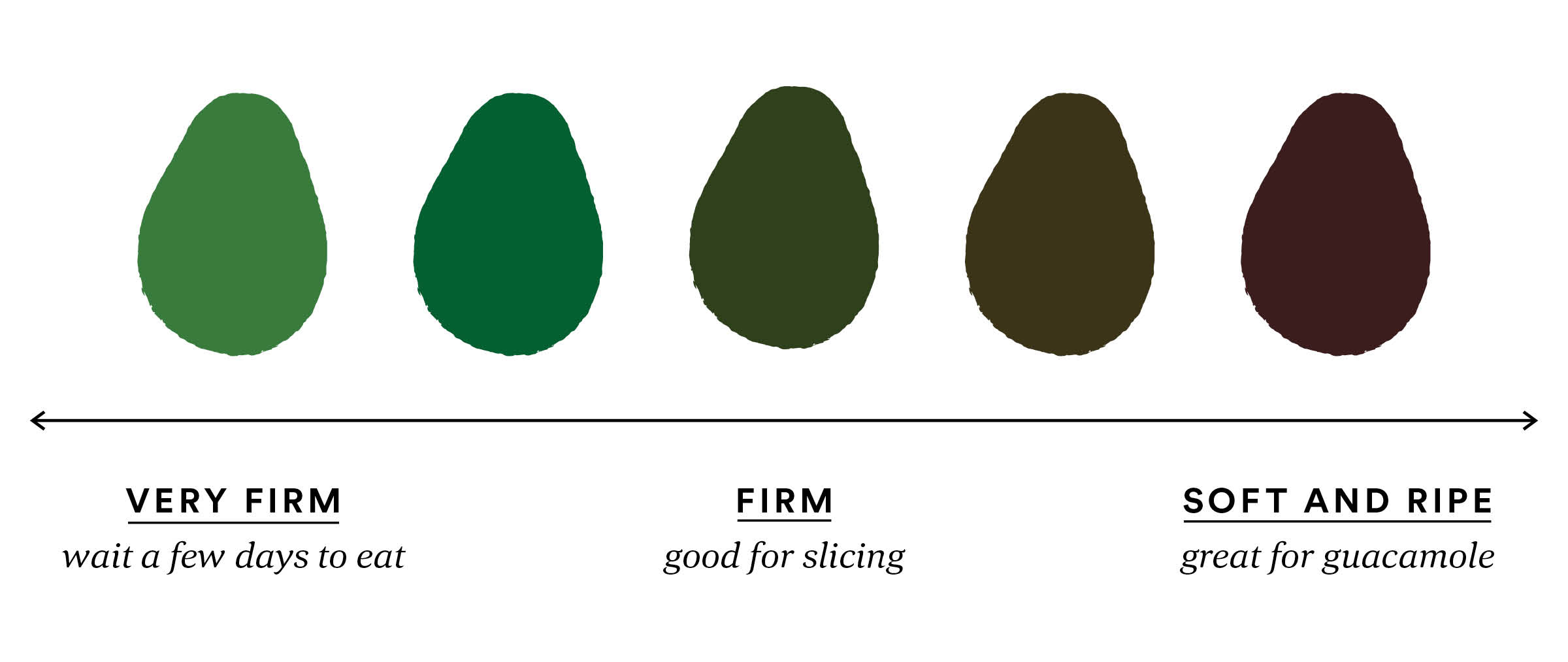 Avocado Firmness scale,  Very Firm Wait a few days to eat, Firm good for slicing, Soft and Ripe great for Guacamole