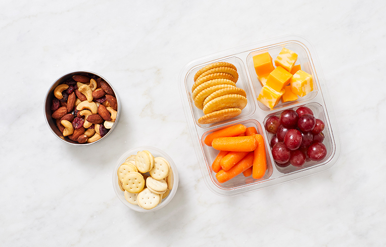 Crackers, cheese, carrots, and nuts