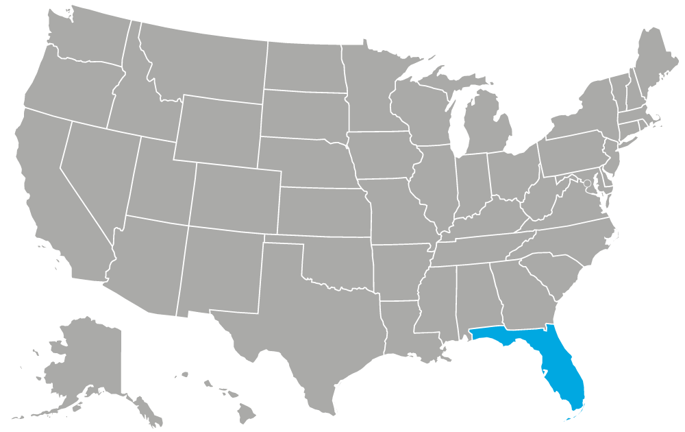 United States of America map, Florida only highlighted