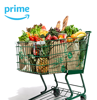 Prime logo and shopping cart full of groceries