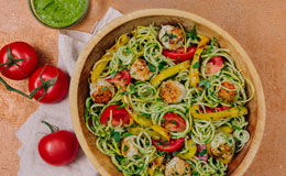 Gluten free veggie noodles with mini turkey meatballs