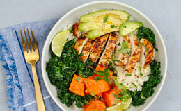 Paleo chicken veggie bowl with cauliflower rice