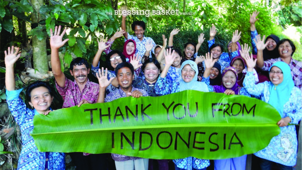 Artisans with 'Thank you from Indonesia' sign