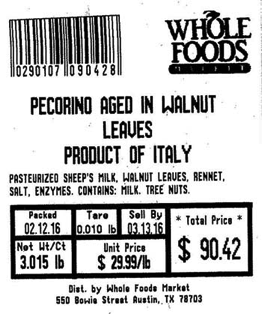 Photo of Pecorino label