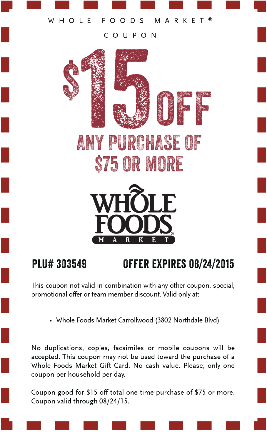 Whole Foods  Of  Coupon Valpak